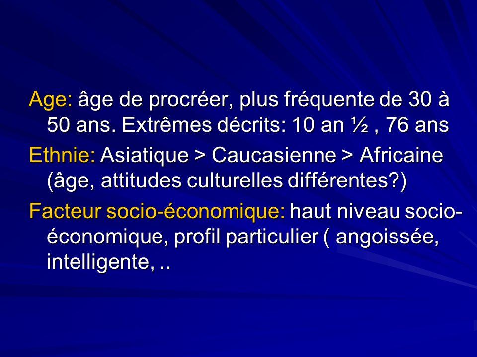 Age: âge de procréer, plus fréquente de 30 à 50 ans