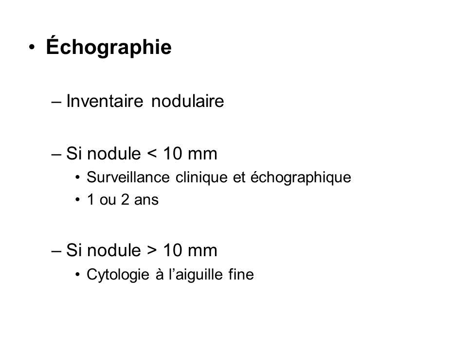 Échographie Inventaire nodulaire Si nodule < 10 mm