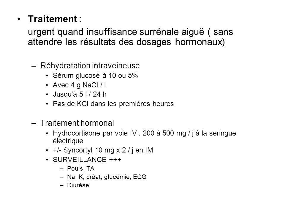 Traitement : urgent quand insuffisance surrénale aiguë ( sans attendre les résultats des dosages hormonaux)