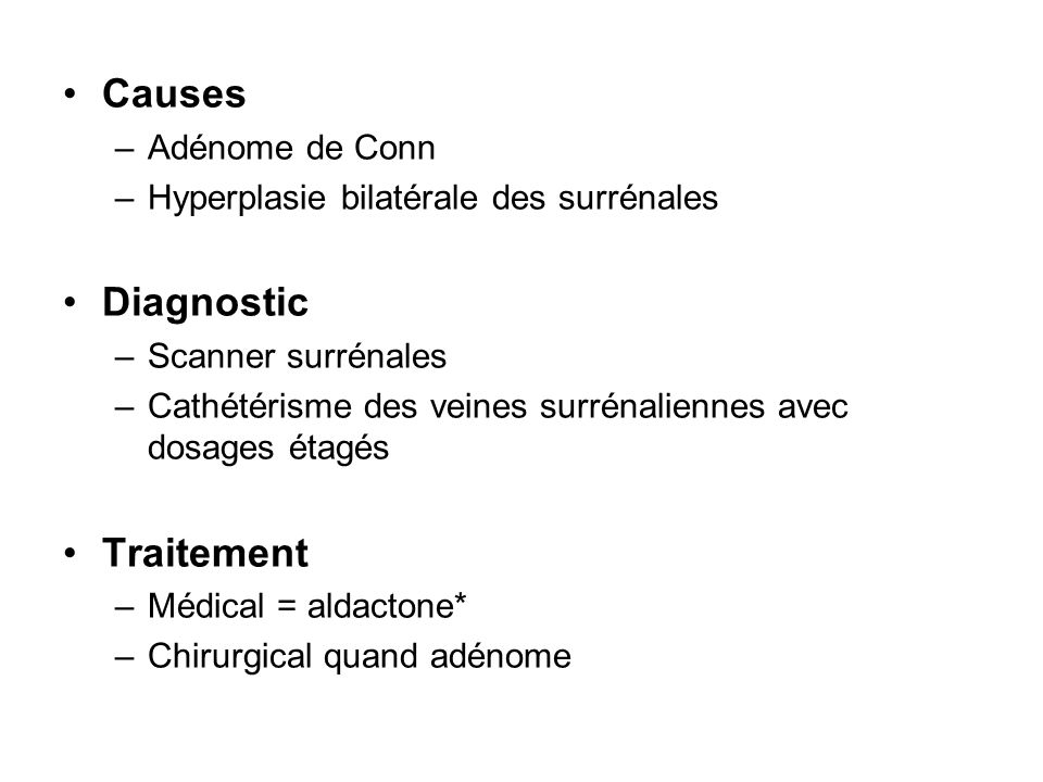 Causes Diagnostic Traitement Adénome de Conn