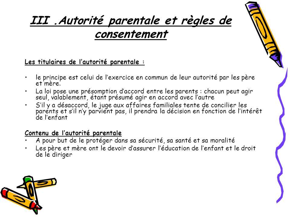 III .Autorité parentale et règles de consentement