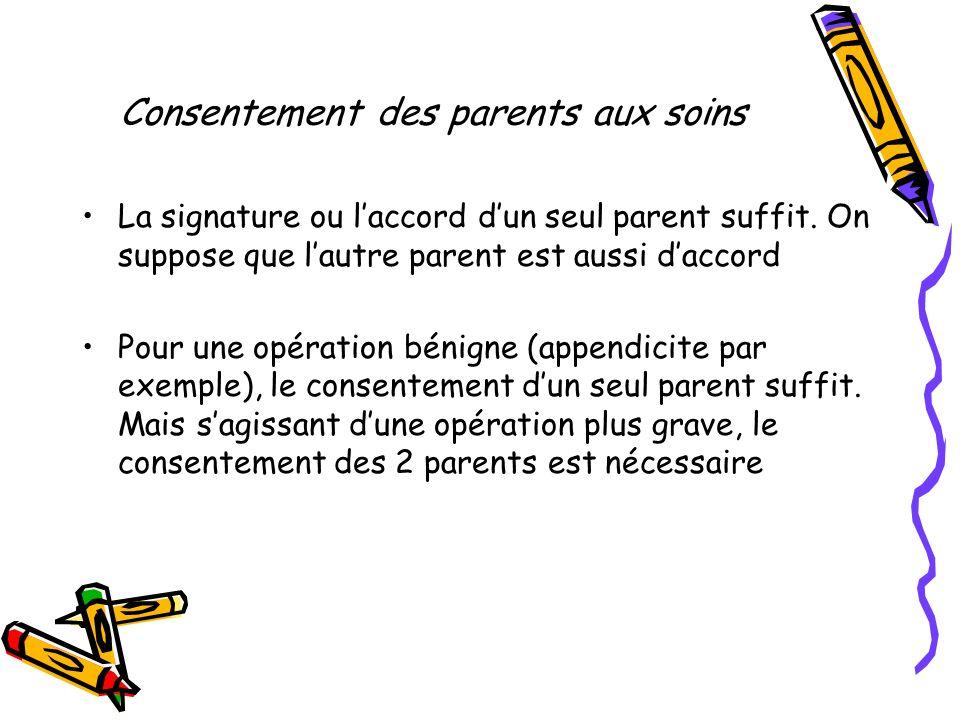 Consentement des parents aux soins