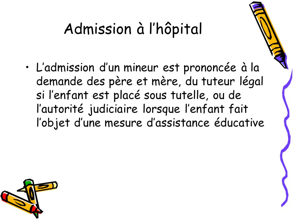 Admission à l'hôpital
