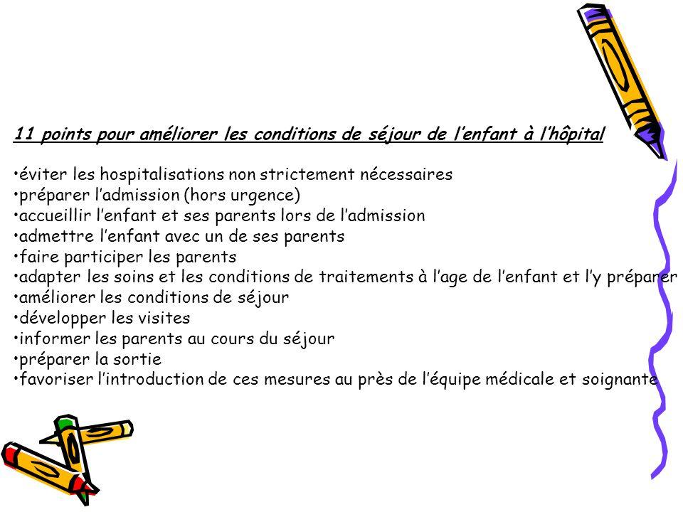 11 points pour améliorer les conditions de séjour de l'enfant à l'hôpital