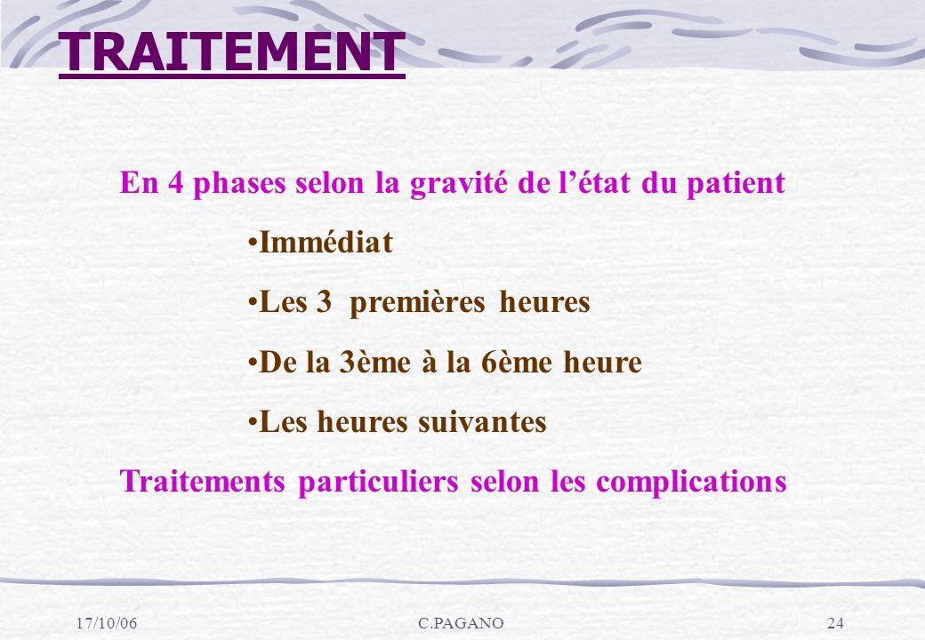 TRAITEMENT En 4 phases selon la gravité de l'état du patient Immédiat