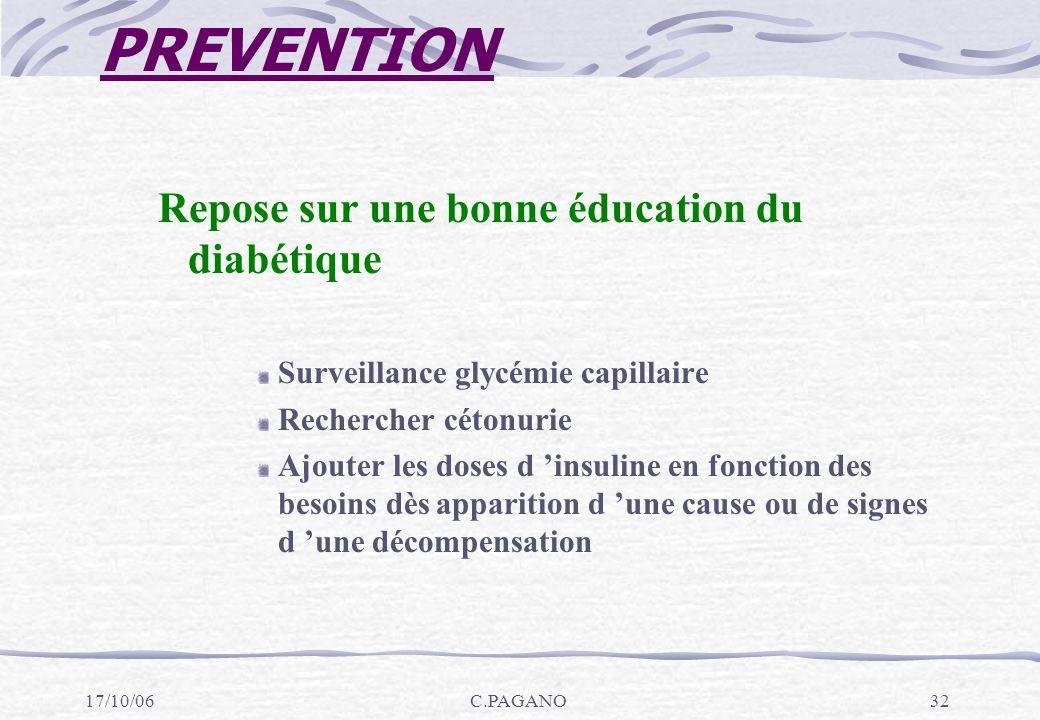 PREVENTION Repose sur une bonne éducation du diabétique