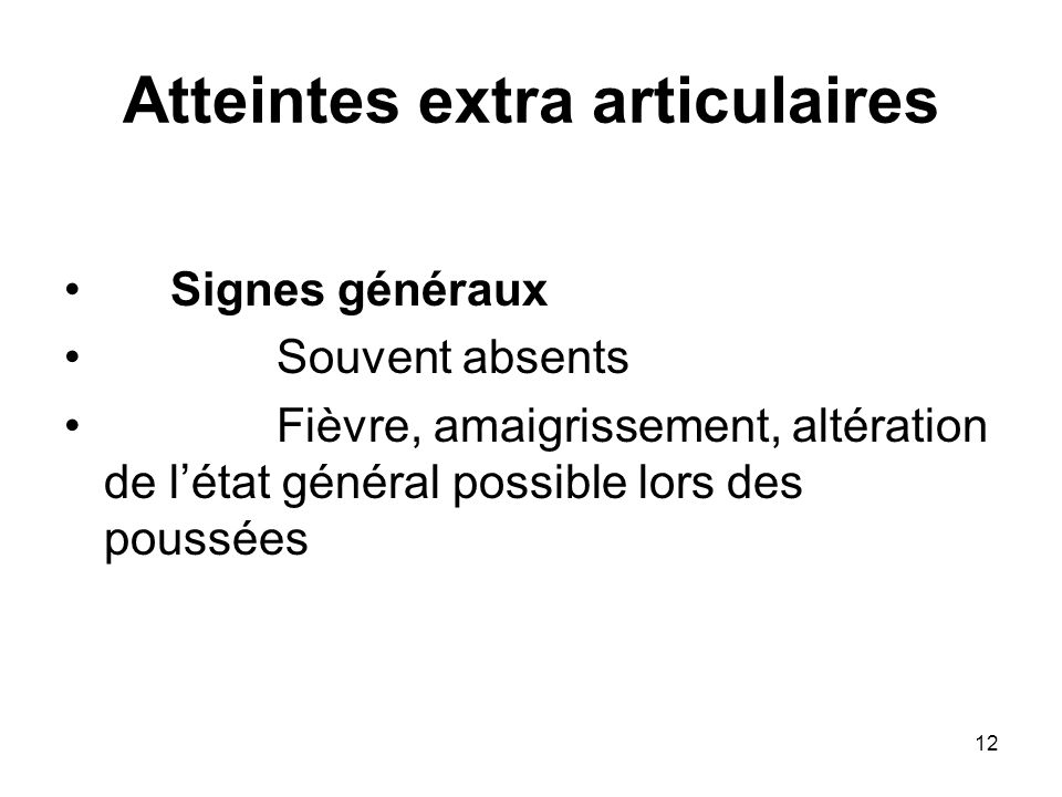 Atteintes extra articulaires