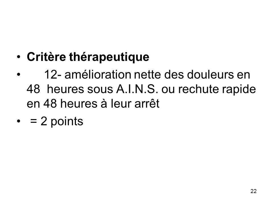 Critère thérapeutique