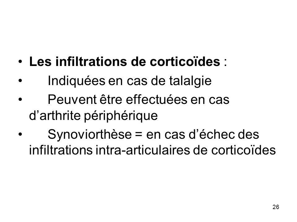 Les infiltrations de corticoïdes :