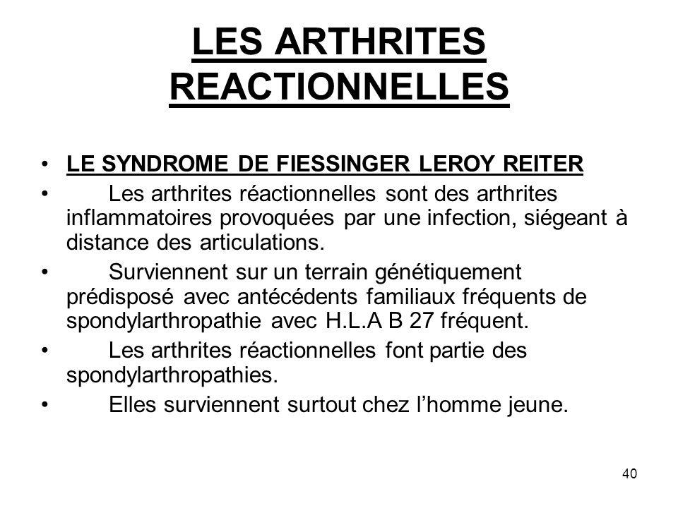 LES ARTHRITES REACTIONNELLES