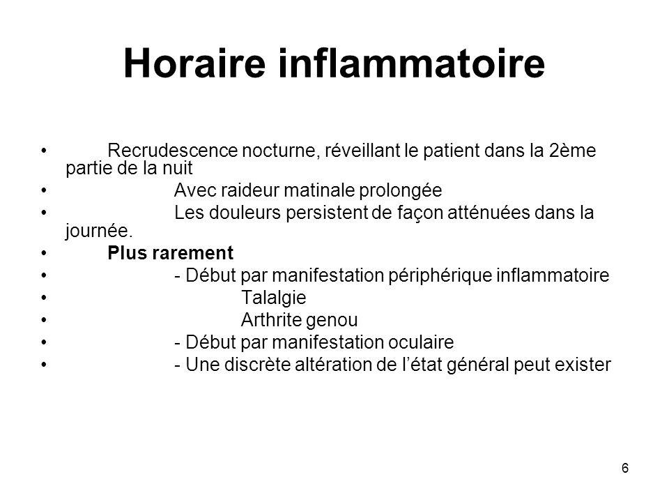 Horaire inflammatoire