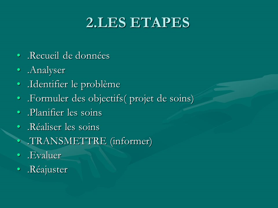 2.LES ETAPES .Recueil de données .Analyser .Identifier le problème