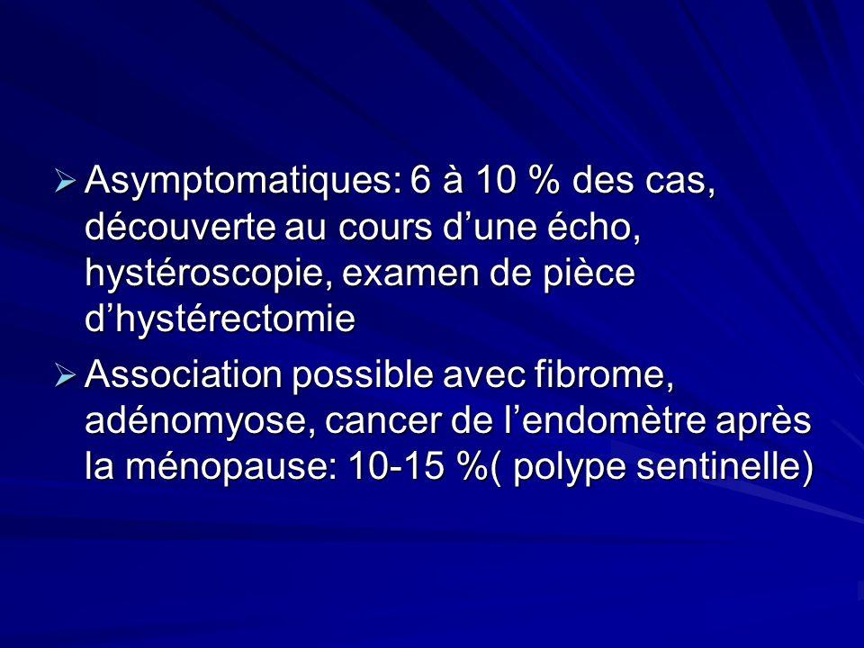 Asymptomatiques: 6 à 10 % des cas, découverte au cours d'une écho, hystéroscopie, examen de pièce d'hystérectomie