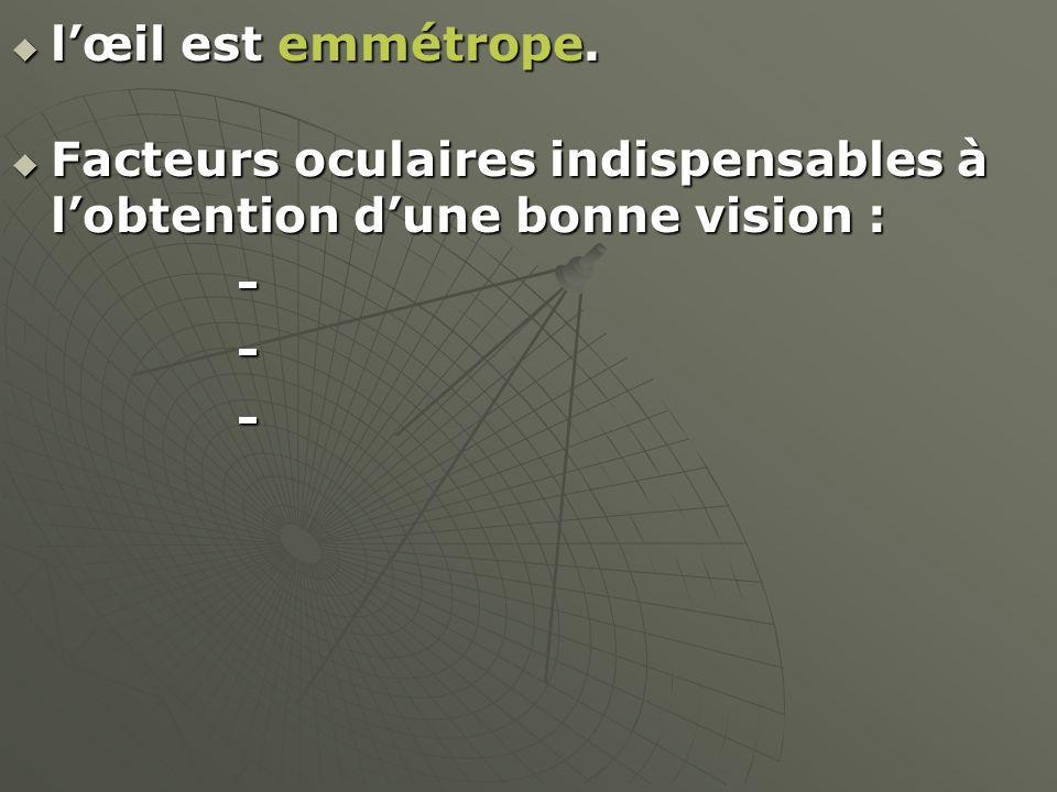 l'œil est emmétrope. Facteurs oculaires indispensables à l'obtention d'une bonne vision : -