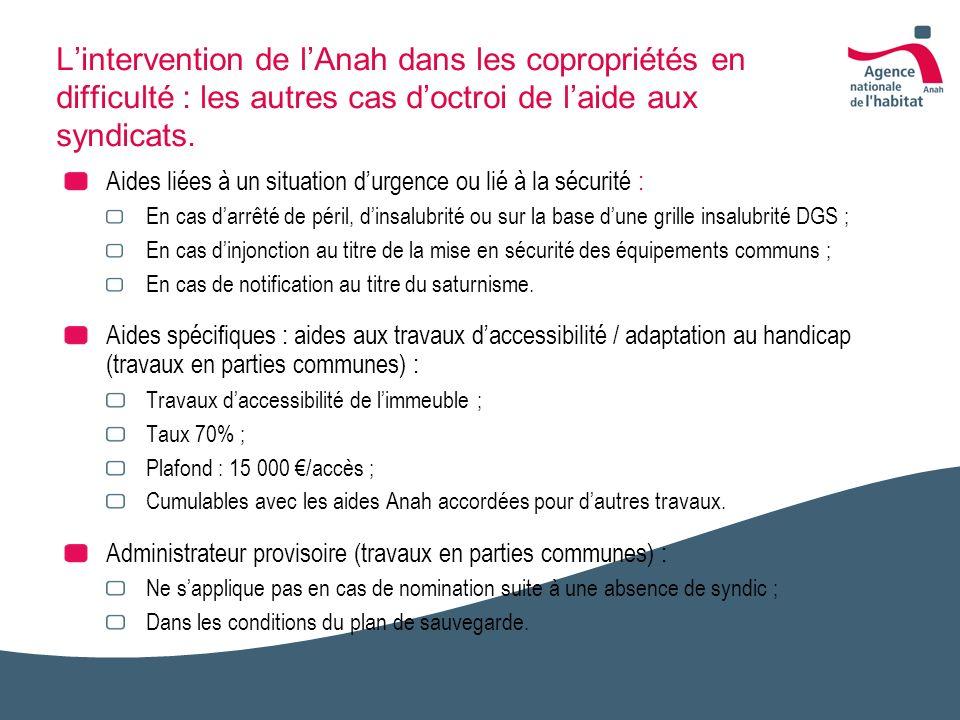L'intervention de l'Anah dans les copropriétés en difficulté : les autres cas d'octroi de l'aide aux syndicats.