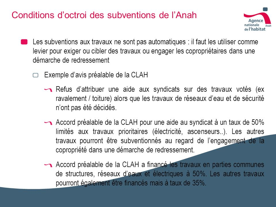 Conditions d'octroi des subventions de l'Anah