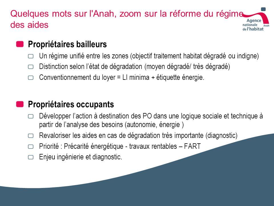 Quelques mots sur l Anah, zoom sur la réforme du régime des aides