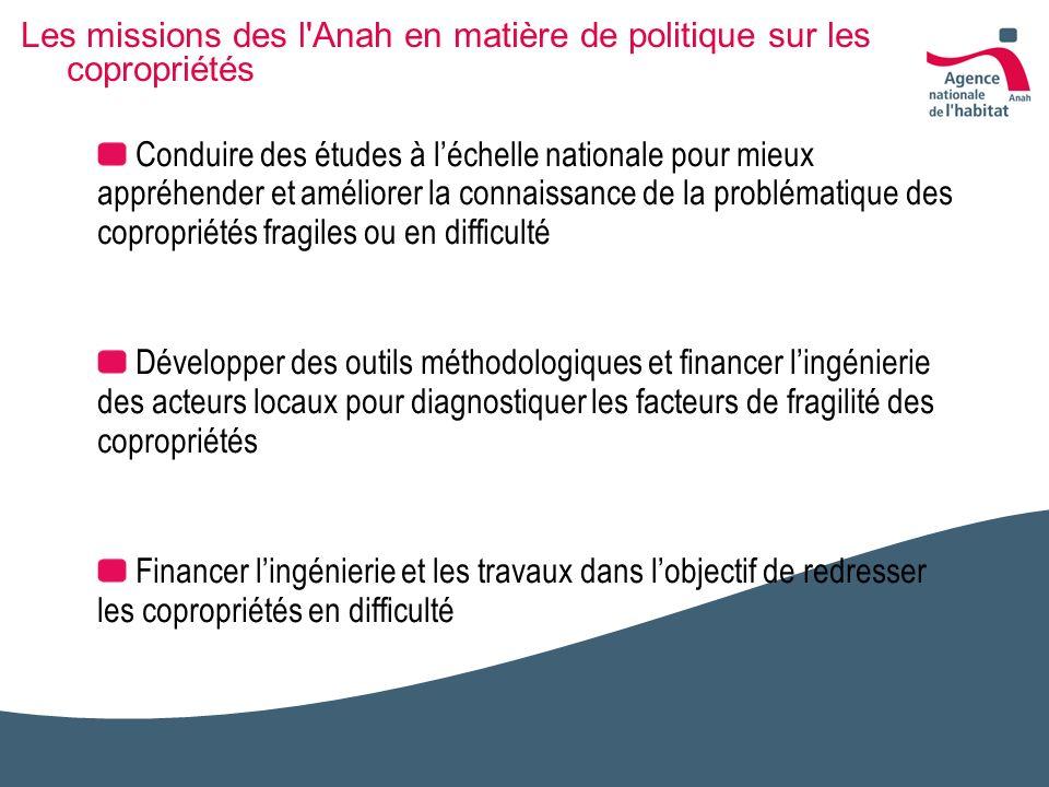 Les missions des l Anah en matière de politique sur les copropriétés