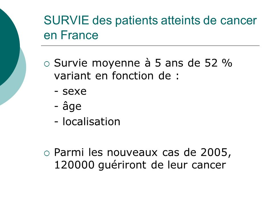 SURVIE des patients atteints de cancer en France