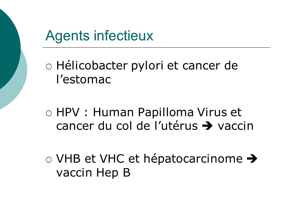 Agents infectieux Hélicobacter pylori et cancer de l'estomac