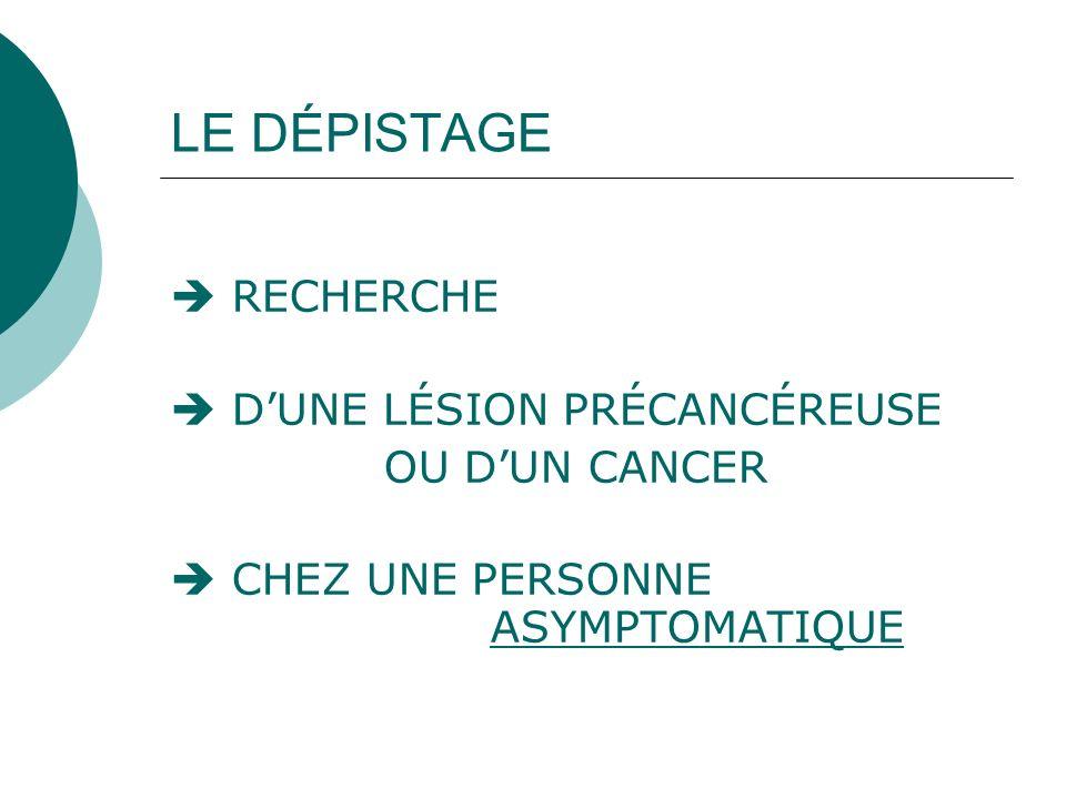 LE DÉPISTAGE  RECHERCHE  D'UNE LÉSION PRÉCANCÉREUSE OU D'UN CANCER