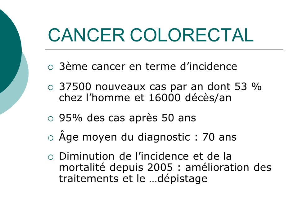 CANCER COLORECTAL 3ème cancer en terme d'incidence