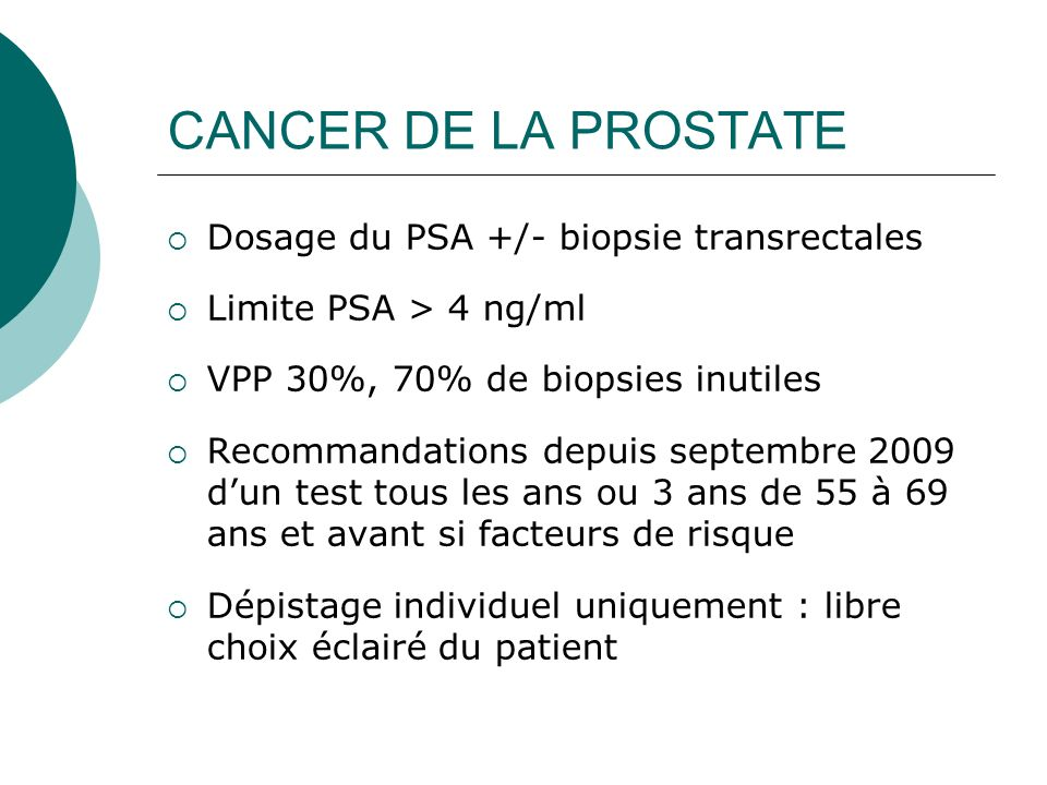 CANCER DE LA PROSTATE Dosage du PSA +/- biopsie transrectales