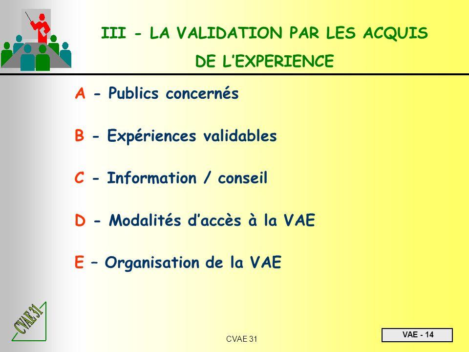 III - LA VALIDATION PAR LES ACQUIS