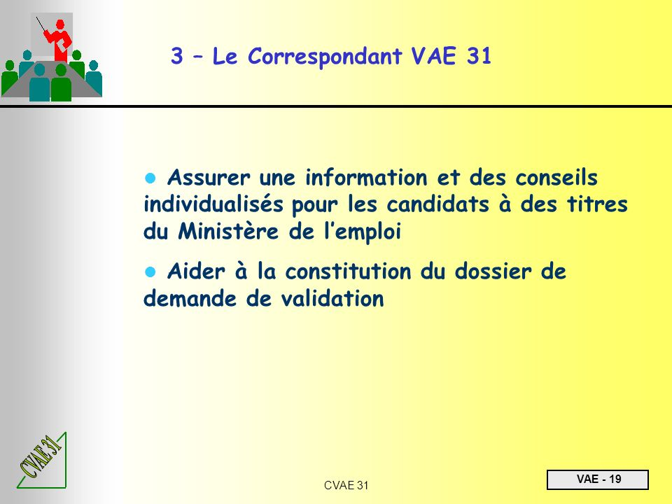 3 – Le Correspondant VAE 31Assurer une information et des conseils individualisés pour les candidats à des titres du Ministère de l'emploi.