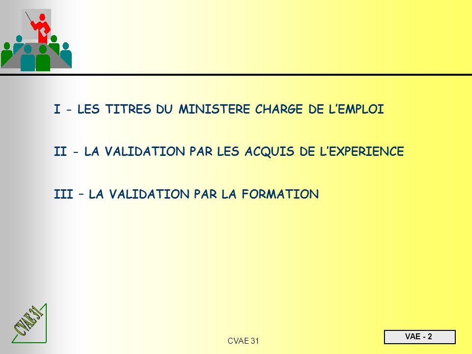 I - LES TITRES DU MINISTERE CHARGE DE L'EMPLOI