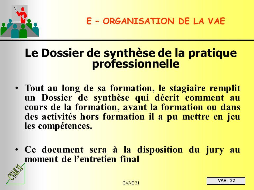 Le Dossier de synthèse de la pratique professionnelle