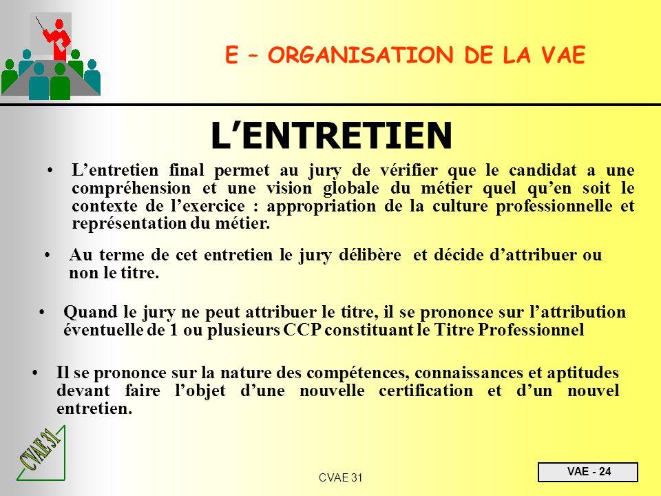 E – ORGANISATION DE LA VAE
