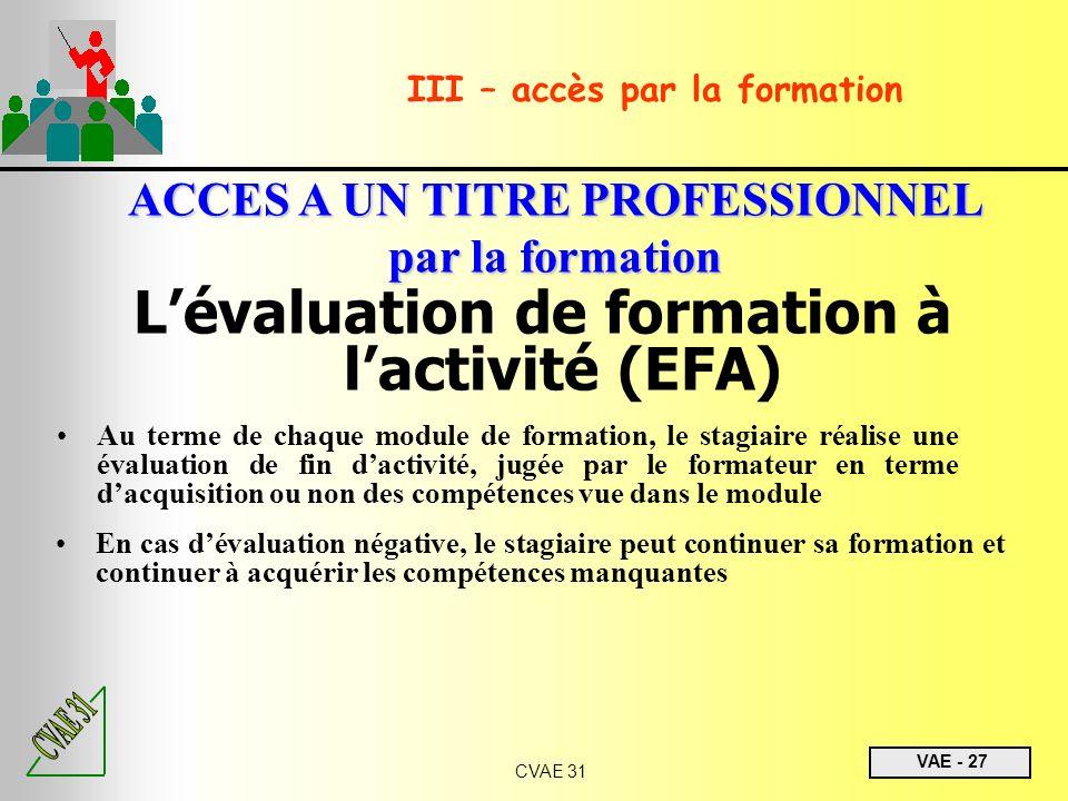 L'évaluation de formation à l'activité (EFA)