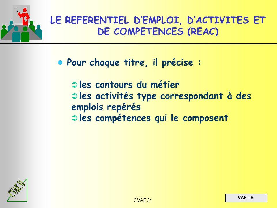 LE REFERENTIEL D'EMPLOI, D'ACTIVITES ET DE COMPETENCES (REAC)
