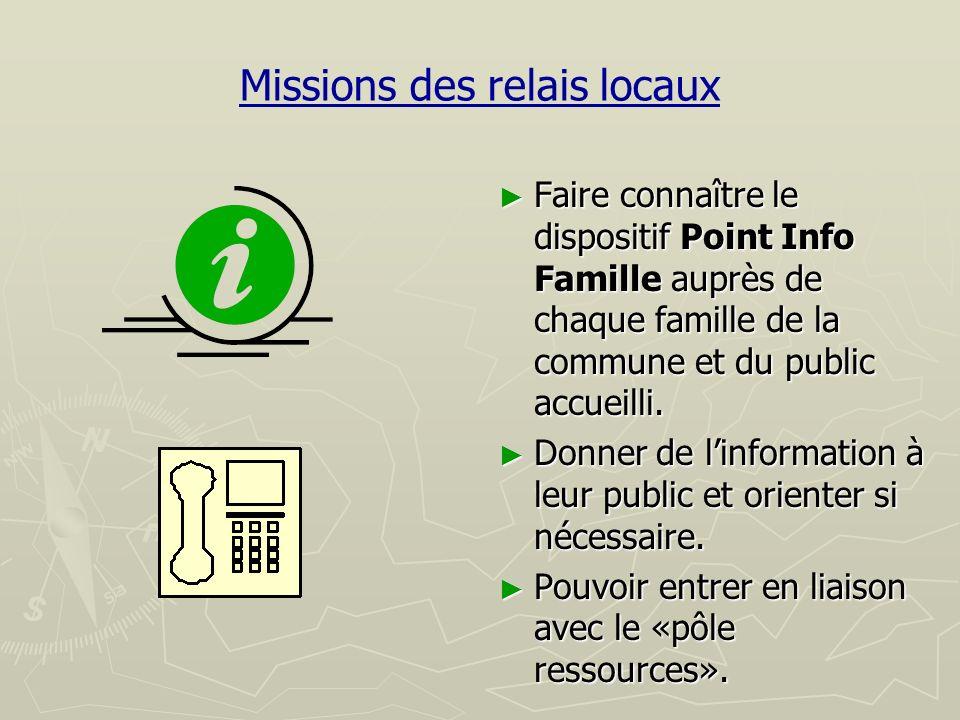 Missions des relais locaux