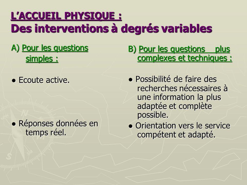 L'ACCUEIL PHYSIQUE : Des interventions à degrés variables