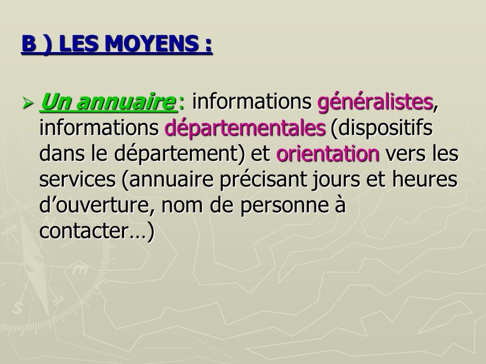 B ) LES MOYENS :