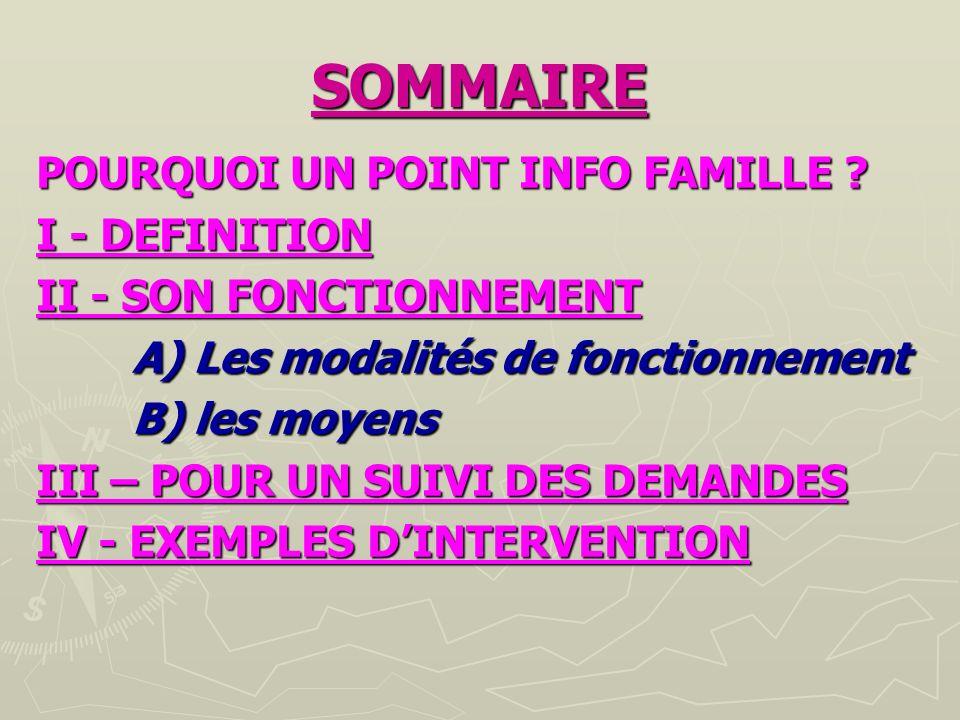 SOMMAIRE POURQUOI UN POINT INFO FAMILLE I - DEFINITION