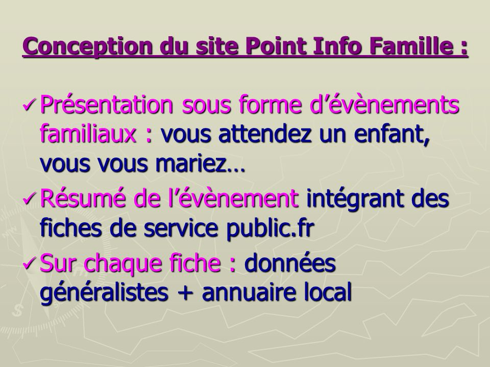 Conception du site Point Info Famille :