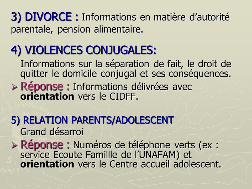 4) VIOLENCES CONJUGALES: