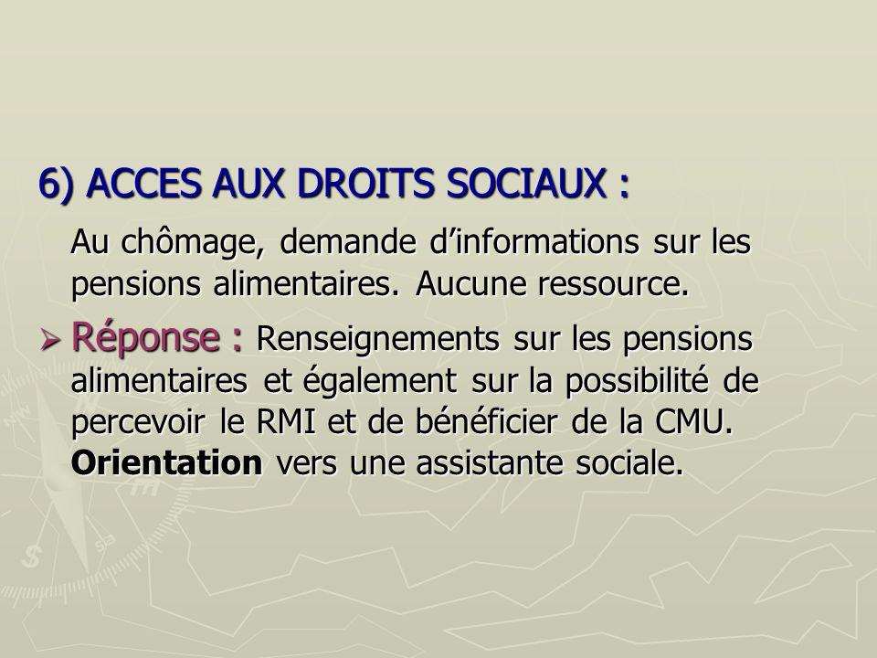 6) ACCES AUX DROITS SOCIAUX :