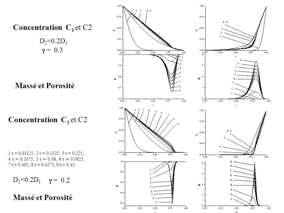 Concentration С1 et C2 Massé et Porosité Concentration С1 et C2