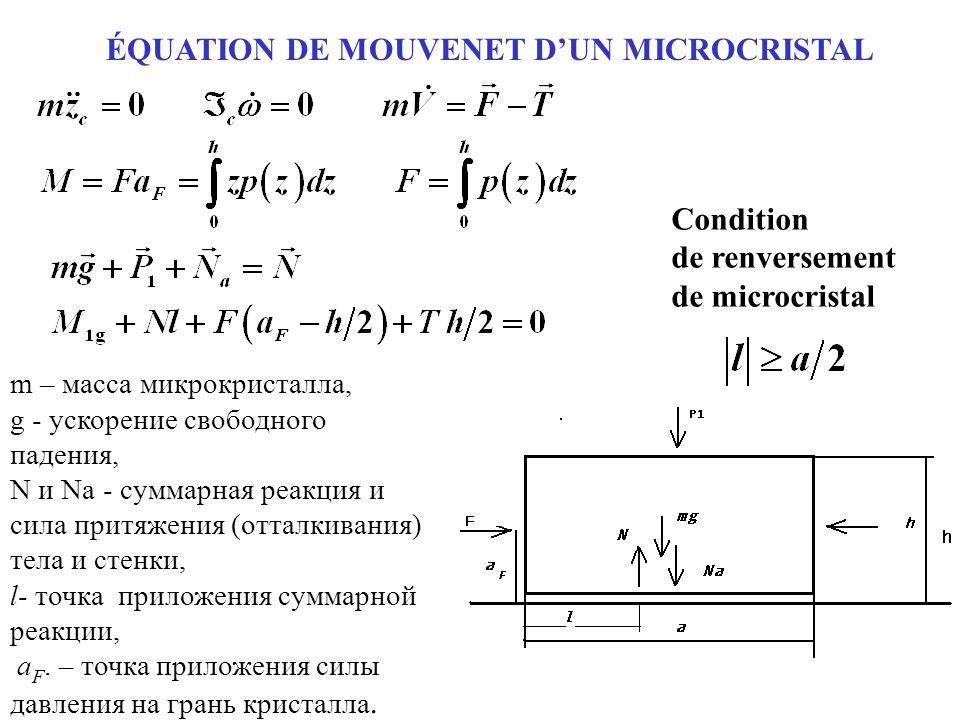 ÉQUATION DE MOUVENET D'UN MICROCRISTAL