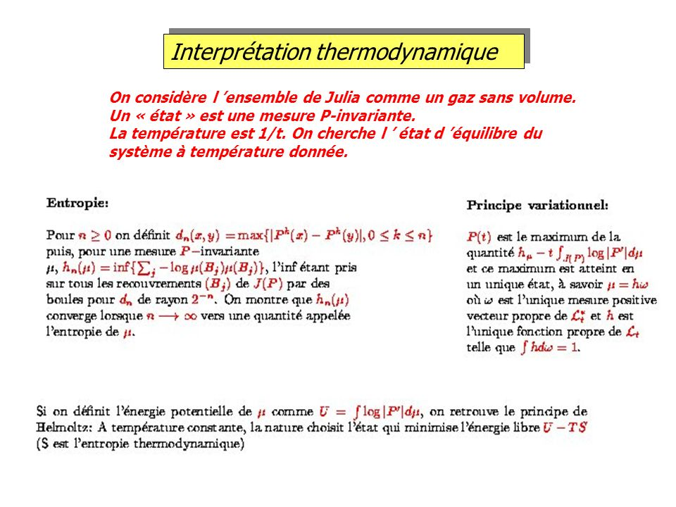 Interprétation thermodynamique