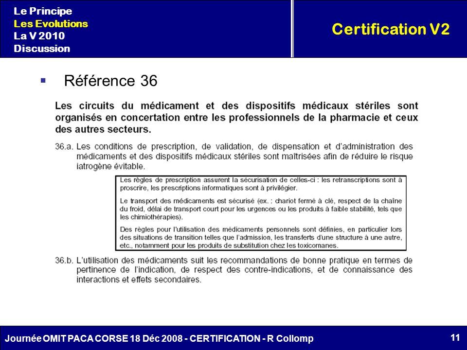 Certification V2 Référence 36 Le Principe Les Evolutions La V 2010