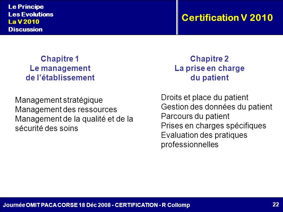 Certification V 2010 Chapitre 1 Le management de l'établissement