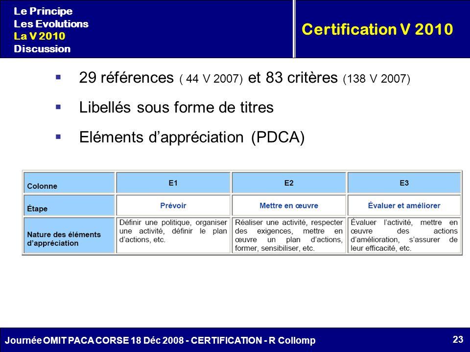 29 références ( 44 V 2007) et 83 critères (138 V 2007)