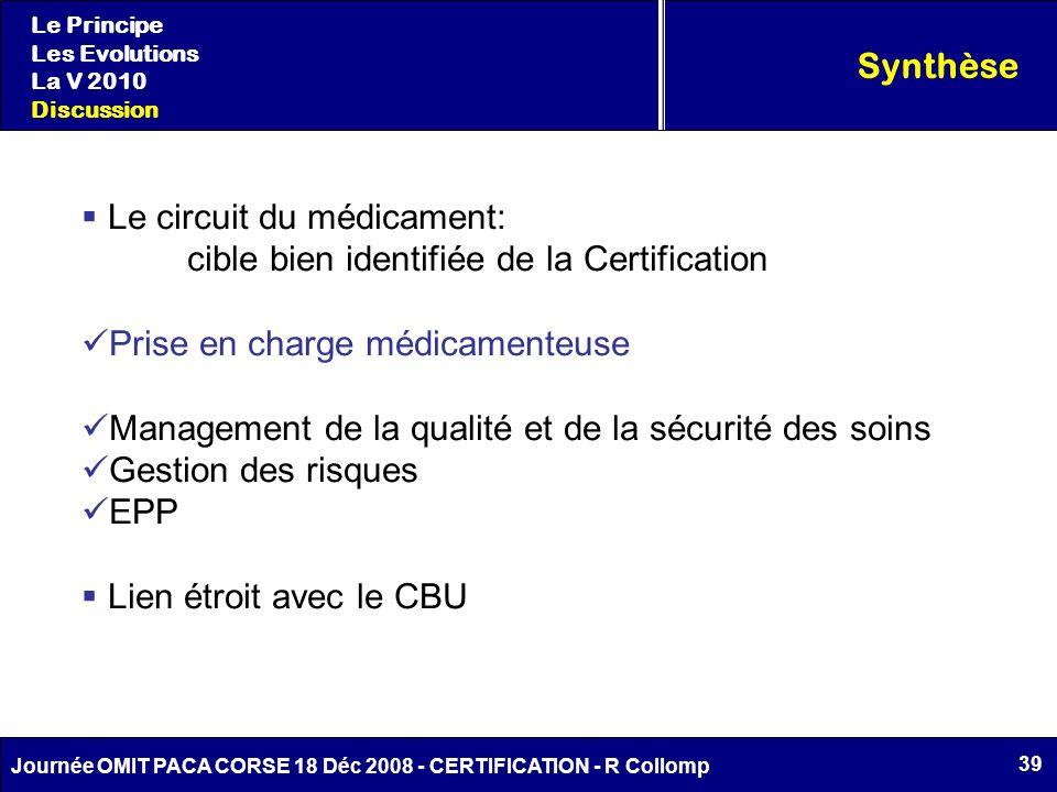 Le circuit du médicament: cible bien identifiée de la Certification