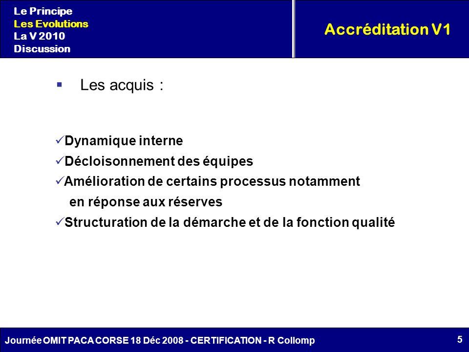 Accréditation V1 Les acquis : Dynamique interne