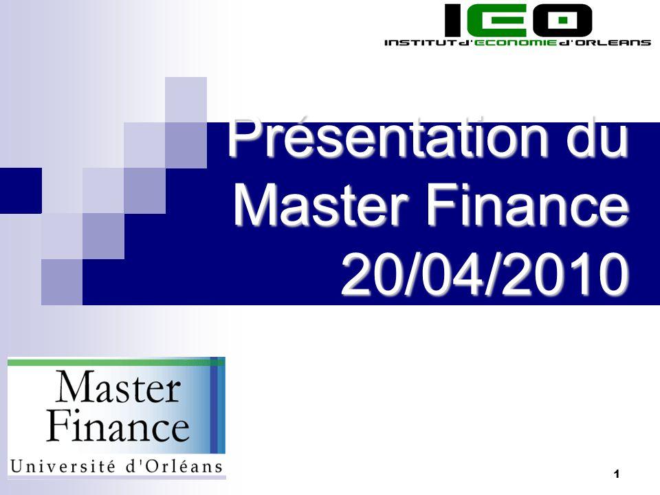 Présentation du Master Finance 20/04/2010
